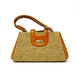 VTG 60s golden brown faux leather handbag